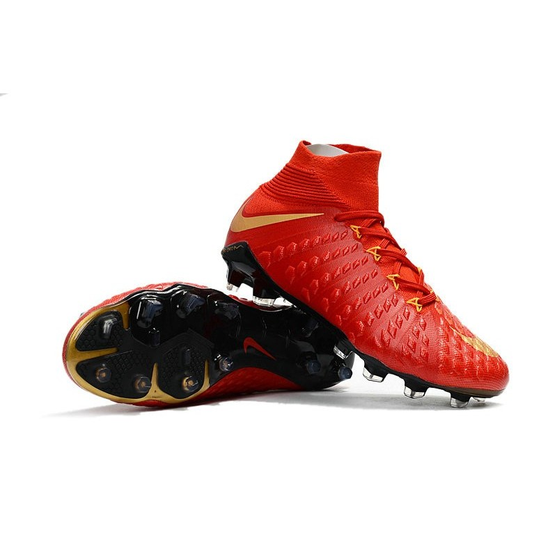 wholesale dealer 0d1ed 6e86d Crampon de Foot Soldes - Nike HyperVenom Phantom III FG Or Rouge