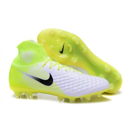 Chaussure de Foot Nike Magista Obra II FG Pas Cher Blanc Noir Volt