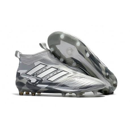 Chaussure Adidas Ace 17  Purecontrol FG Crampons Foot Pas Cher Gris clair Blanc Noir