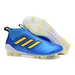 Chaussures Football Adidas Ace 17 Purecontrol FG Bleu Jaune Blanc
