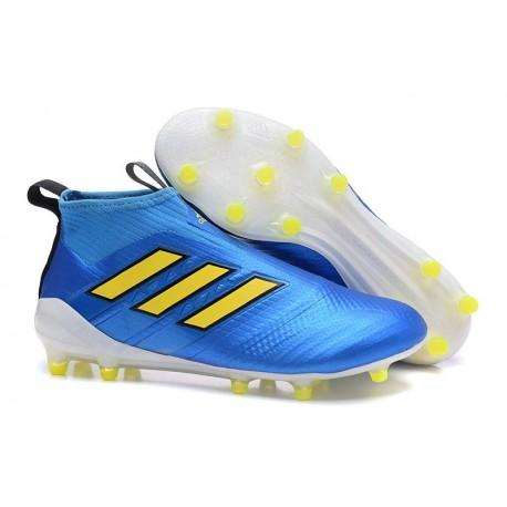 save off 97189 0bbff Chaussures Football Adidas Ace 17 Purecontrol FG Bleu Jaune