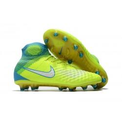 Nouvelle Chaussures de Foot Nike Magista Obra II FG- Volt Blanc Bleu Chlore