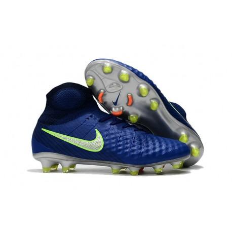 Nouvelles Crampons foot Nike Magista Obra II FG Bleu Vert