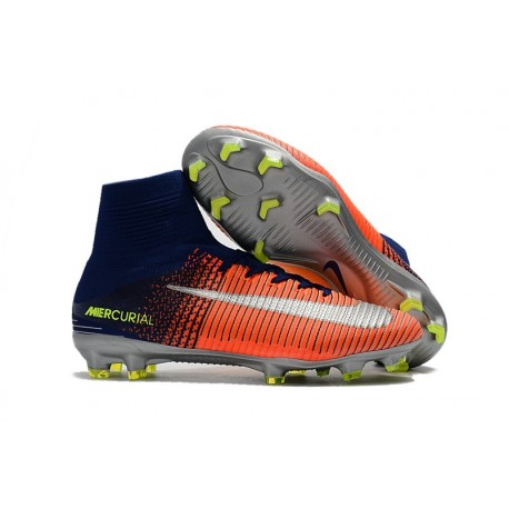 Chaussures de Foot Nike Mercurial Superfly V FG Orange Jaune Argent