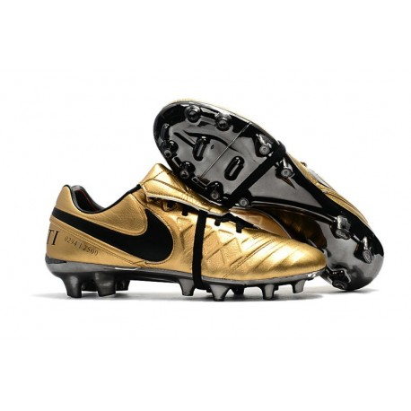 Nike Tiempo Legend VII FG - Chaussures Nike 2017 Totti X Roma Or Noir