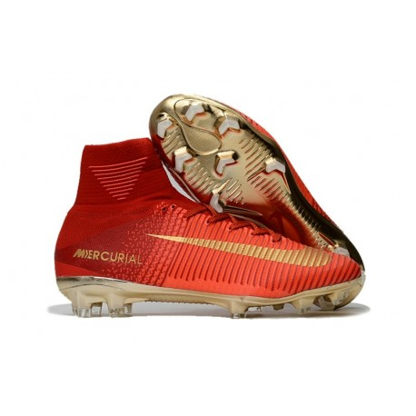 2017 Nouveau Chaussures de Football Mercurial Superfly V FG Rouge Or