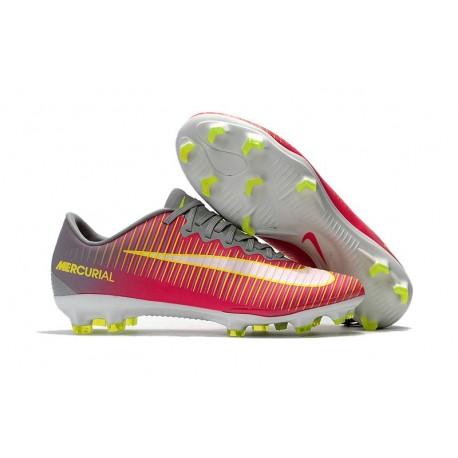 Chaussure de Foot Nike Mercurial Vapor XI FG Pas Cher Rose Gris Jaune