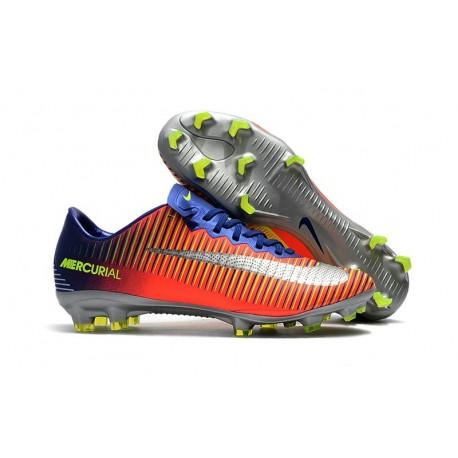 Nike Mercurial Vapor XI FG Chaussures De Foot 2017 Bleu Royal Chrome Carmin