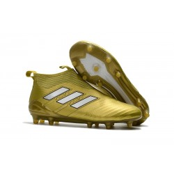 Chaussure Adidas Ace 17+  Purecontrol FG Crampons Foot Pas Cher Or Blanc