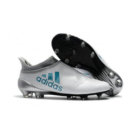 Nouveau Chaussure adidas X 17+ Purespeed FG Blanc Bleu Gris