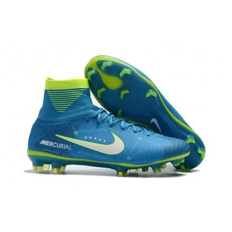Chaussures de Foot Nike Mercurial Superfly V FG NJR Bleu Blanc Volt