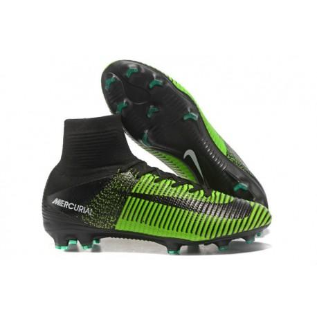 2017 Nouveau Chaussures de Football Mercurial Superfly V FG Vert Noir