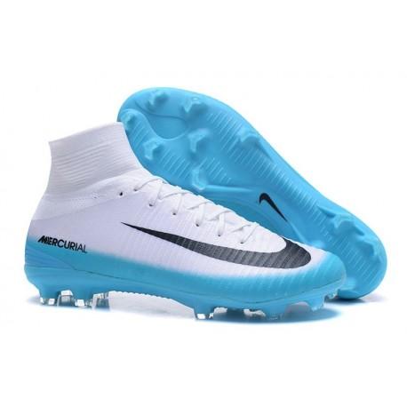 Chaussures de Foot Nike Mercurial Superfly V FG Blanc Bleu Noir