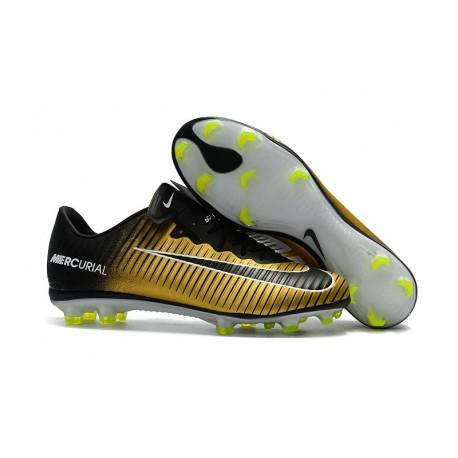 Nike Mercurial Vapor XI FG Chaussures De Foot 2017 Or Noir Blanc