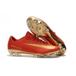 Chaussure de Foot Nike Mercurial Vapor XI FG Pas Cher CR7 Or Rouge