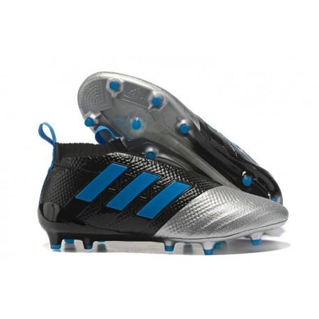 new arrival 4a59e 27bdb Chaussure Adidas Ace 17+ Purecontrol FG Crampons Foot Pas Cher Noir Argenté  Bleu