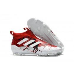 Nouveau Adidas ACE 17+ Purecontrol FG Chaussure de Foot Rouge Blanc Noir