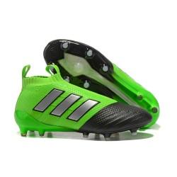 Chaussure Adidas Ace 17+  Purecontrol FG Crampons Foot Pas Cher Vert Noir Argenté