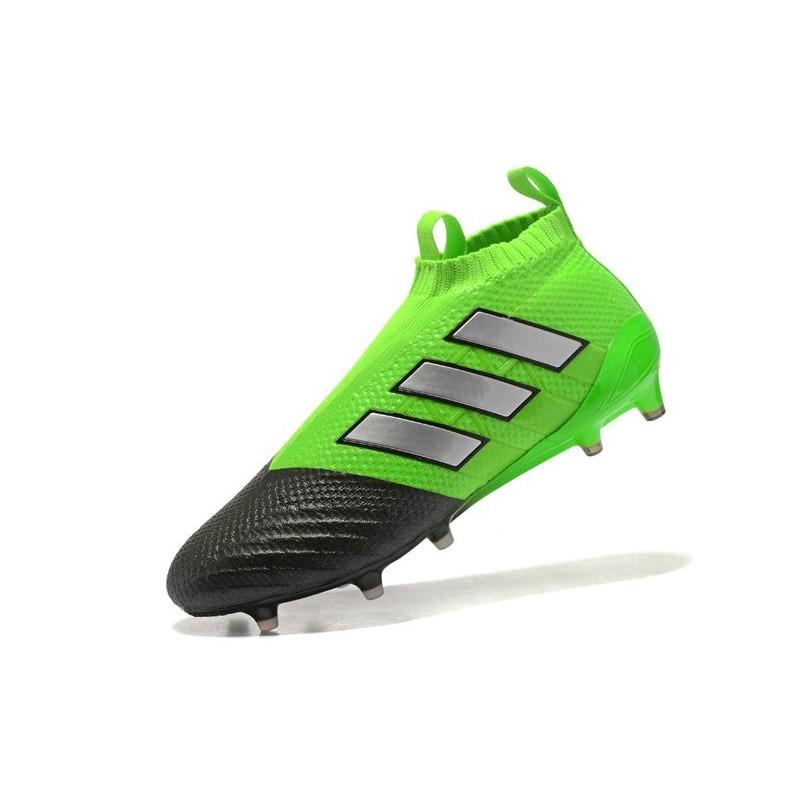 best sneakers 6ba36 66345 Chaussure Adidas Ace 17+ Purecontrol FG Crampons Foot Pas Cher Vert Noir  Argenté