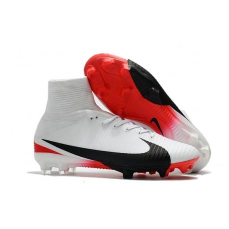 Chaussures de Foot Nike Mercurial Superfly V FG Blanc Rouge Noir