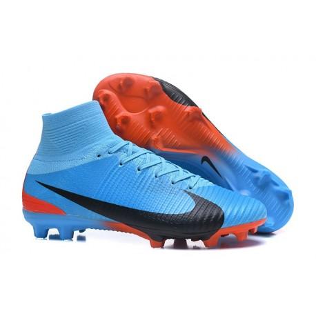 2017 Nouveau Chaussures de Football Mercurial Superfly V FG Bleu Rouge Noir