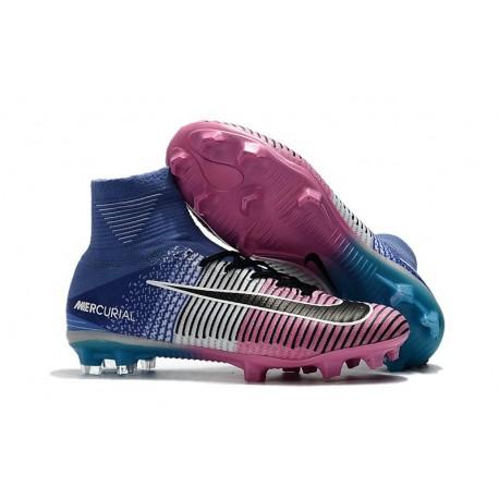 Chaussures de Foot Nike Mercurial Superfly V FG Bleu Rose Noir