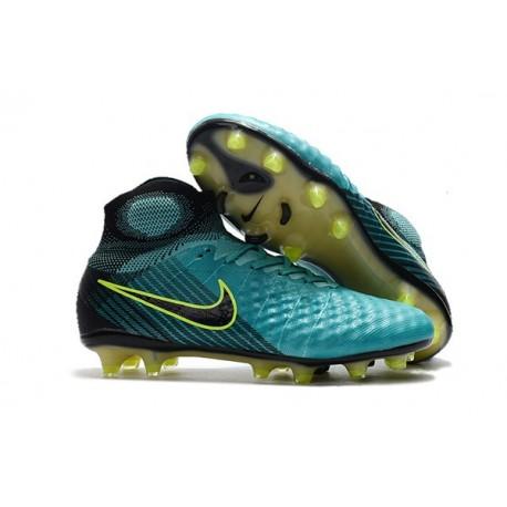 2017 Crampons Foot Nike Magista Obra 2 FG Bleu Volt Noir