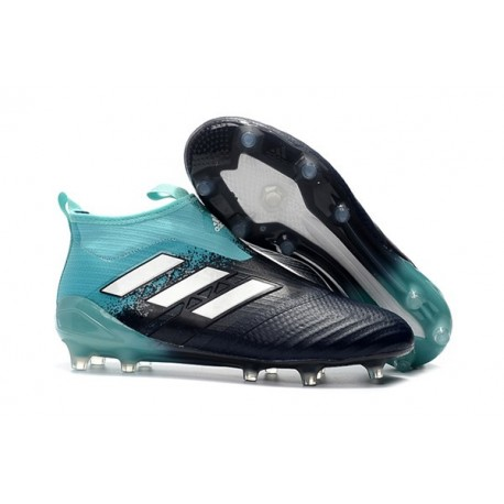 Chaussure Adidas Ace 17+ Purecontrol FG Crampons Foot Pas Cher Energy Aqua Blanc Legend Ink
