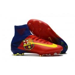 2017 Nouveau Chaussures de Football Mercurial Superfly V FG Barcelona FC Bleu Rouge Jaune