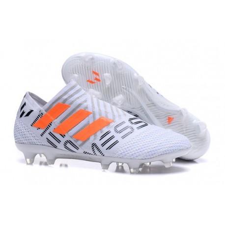Nouveau Crampons - Chaussures adidas Nemeziz 17+ 360 Agility FG Blanc Orange Gris