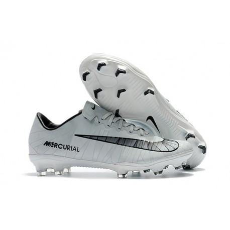 Nike Mercurial Vapor XI FG Chaussures De Foot 2017 CR7 Gris Noir Blanc