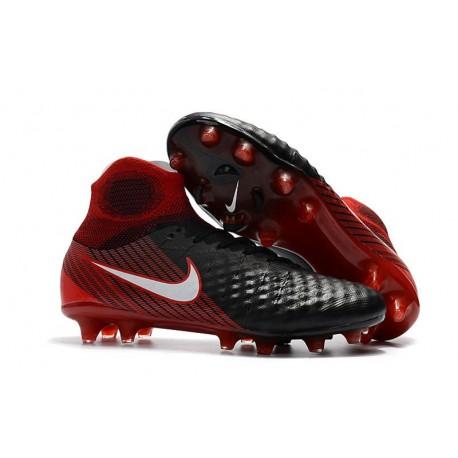 2017 Crampons Foot Nike Magista Obra 2 FG Noir Blanc Hyper Crimson Clair Crimson