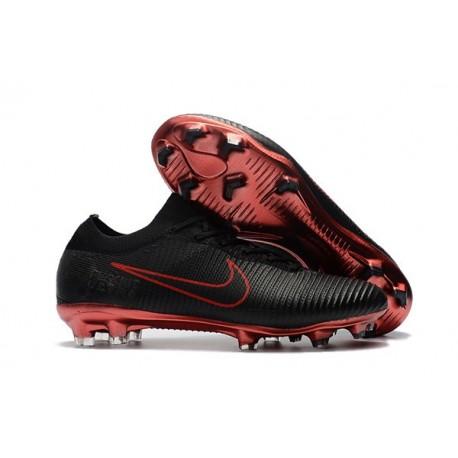 Nouveau Chaussures de football - Nike Mercurial Vapor Flyknit Ultra FG Noir Rouge