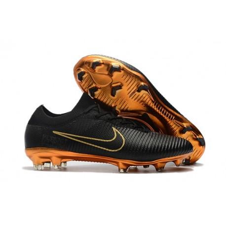 Nouveau Chaussures de football - Nike Mercurial Vapor Flyknit Ultra FG Or Noir