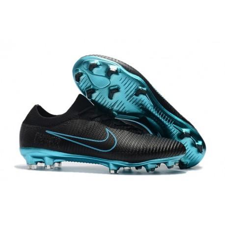 Nouveau Chaussures de football - Nike Mercurial Vapor Flyknit Ultra FG Noir Bleu