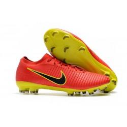 Nouveau Chaussures de football - Nike Mercurial Vapor Flyknit Ultra FG Rouge Jaune Noir
