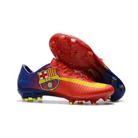 Nouvelles Nike Mercurial Vapor 11 FG Crampons de Football pour Hommes Barcelona Rouge Bleu Jaune
