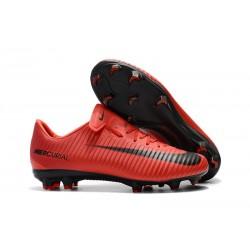 Nouvelles Nike Mercurial Vapor 11 FG Crampons de Football pour Hommes Rouge Noir
