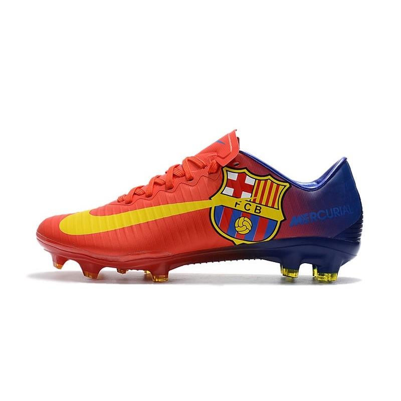 promo code 907ef b98b7 Nouvelles Nike Mercurial Vapor 11 FG Crampons de Football pour Hommes Barcelona  Rouge Bleu Jaune