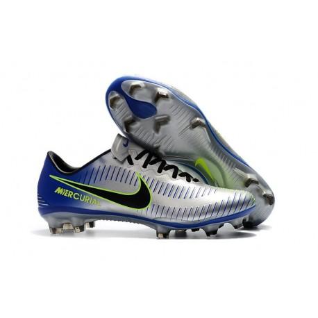 Nike Mercurial Vapor XI FG Chaussures De Foot 2017 Argent Bleu