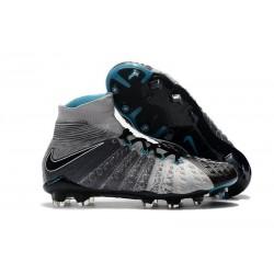 Nouvelles Crampons Foot - Chaussure Hypervenom Phantom III ACC DF FG Gris Noir Bleu