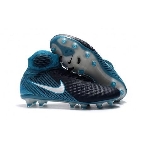 Nouvelles Crampons foot Nike Magista Obra II FG Blanc Bleu Noir