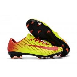 Nouvelles Nike Mercurial Vapor 11 FG Crampons de Football pour Hommes Rouge Jaune