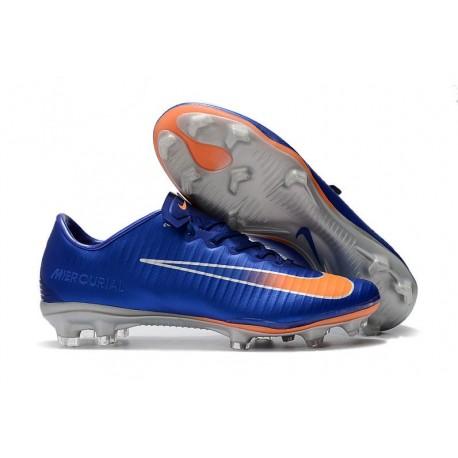 Nouveau Nike - Mercurial Vapor XI FG Chaussures De Foot Bleu Orange Argent