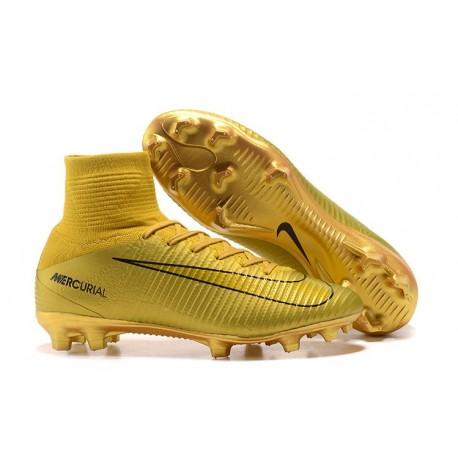 Nouveau Chaussures de Football Mercurial Superfly V FG Or Noir