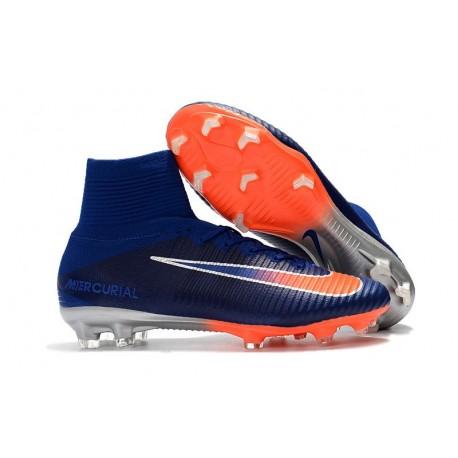 Chaussures de Foot Nike Mercurial Superfly V FG Bleu Royal Chrome Carmin