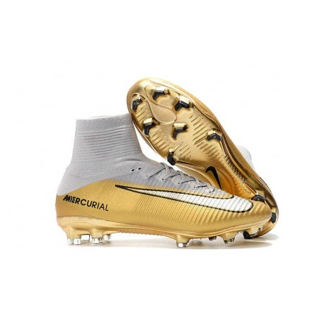 Nouveau Chaussures de Football Mercurial Superfly V FG Quinto Triunfo Or Blanc
