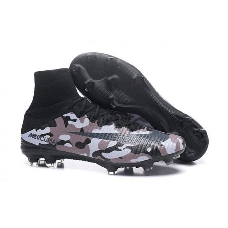 Nouveau Chaussures de Football Mercurial Superfly V FG Camouflage Gris Noir