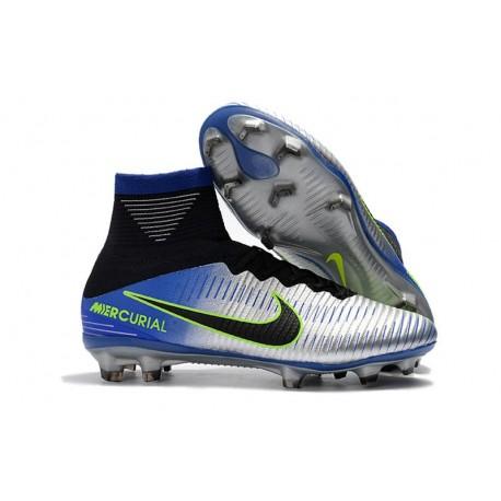 Chaussures de Foot Nike Mercurial Superfly V FG Bleu Noir Chrome Volt