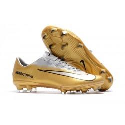 Nouveau Nike - Mercurial Vapor XI FG Chaussures De Foot Or Blanc